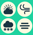meteorology icons set collection of breeze snowy vector image vector image