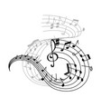 music note and treble clef on swirling stave icon vector image vector image