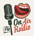 music radio banner with microphone and girls mouth vector image