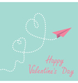 Origami paper plane Two dash heart Valentines day vector image vector image