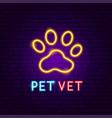 pet vet neon label vector image