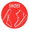 round sign shop mens and womens shoes vector image vector image