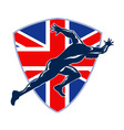 Runner Sprinter Start British Flag Shield vector image vector image