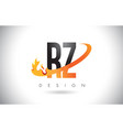 rz r z letter logo with fire flames design and vector image vector image