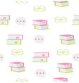 seamless book with icons school pattern vector image vector image
