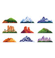set mountain ridges snowy rocky cliffs hills vector image