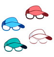 set of caps and glasses vector image