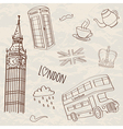 set of hand-drawn London symbols vector image