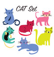 set sign cute cats vector image