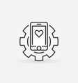 smartphone in gear concept icon in thin vector image vector image