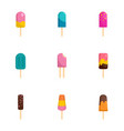 stick ice cream icon set flat style vector image