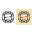 sushi vintage round emblem vector image