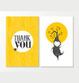 Thank you greeting card elf happy wood background vector image vector image