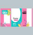 vertical flat banner set easter sale 50 percent vector image