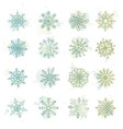 Watercolor snowflakes star symbol graphic crystal vector image