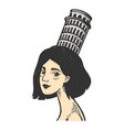 woman with tower pisa color sketch engraving vector image vector image