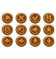 wooden collection kit buttons for ui game vector image vector image