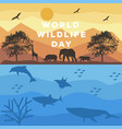 world wildlife day poster with animal silhouette