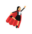 young business woman with red cape flying up as vector image vector image
