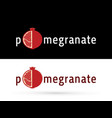 pomegranate fruit with font design graphic vector image