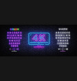 4k quality video neon sign monitor vector image