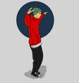 a guy in a green hat and red hoody dancing on a vector image vector image