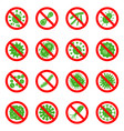 antibacterial and stop viruses signs set vector image