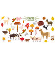 big set of farm animals pig rabbit cow bull vector image vector image