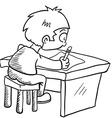 black and white boy doing homework vector image vector image