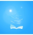 book in blue sky with seagulls and sun vector image vector image