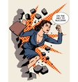Business success businesswoman breaks the wall vector image vector image