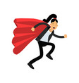 business woman with red superhero cloak running vector image vector image