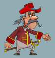 cartoon funny mustache man in hat with sword vector image vector image