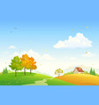 cartoon rural fall landscape vector image vector image