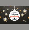christmas ball background golden glass merry xmas vector image vector image
