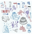 Colored set of sketch party objects hand-drawn vector image