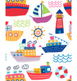 colorful seamless pattern assorted ships vector image