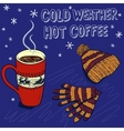 Colorful sketch background for a winter coffee vector image vector image