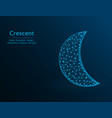 crescent low poly polygon icon on blue vector image vector image