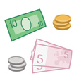 currency and coins vector image vector image