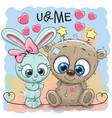 cute bear and rabbit girl vector image vector image