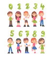cute kids holding green balloons shaped as numbers vector image