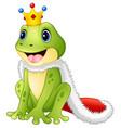 cute king frog cartoon vector image