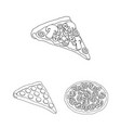 different pizza outline icons in set collection vector image
