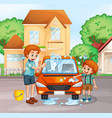 father and boy washing car vector image
