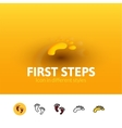First steps icon in different style vector image