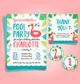 flamingo birthday invitation pool party vector image vector image