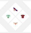flat icon dress set of lingerie t-shirt casual vector image vector image