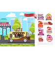 flat street food concept vector image vector image