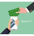 hand holds smartphone mobile payment money virtual vector image